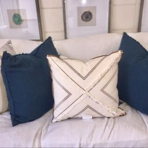 White and Brown leather trim Accent pillow